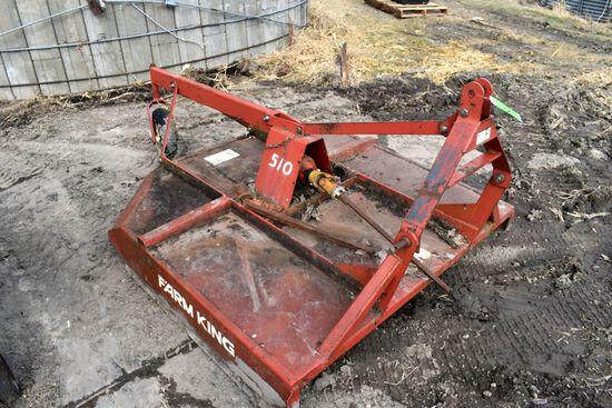 Farm King Model 510 Rotary Mower, 5', 540PTO, Gear Box Is Good, Broken PTO Shaft