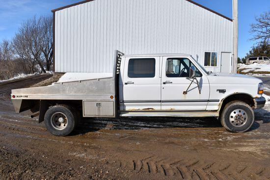 1996 Ford F350 XLT, Dually, 4 Door, 7.3L Turbo Diesel, 4x4, Auto, With 8' Aluma-Line Flat Bed, Miles