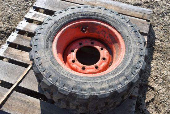 265/60R15 Skid Loader Tire, 8 Bolt Rim, Used