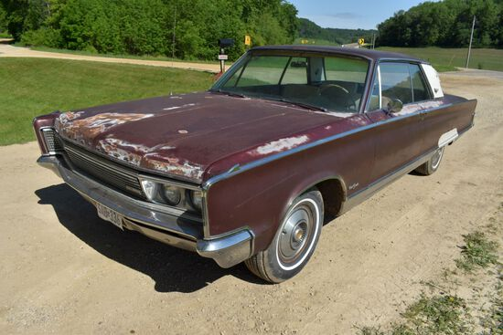 1966 Chrysler New Yorker 2 Door Car, 37,308 Miles, Original Miles, Maroon In Color, VIN: CH23J631316