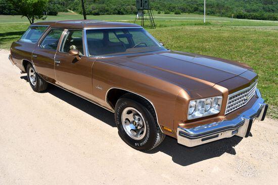 1976 Chevrolet Impala Wagon 4 Door Car, 82,873 Miles, Original Miles, Gold In Color, VIN: 1L35U6J232