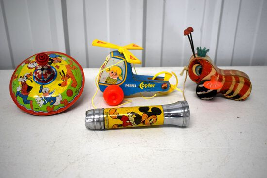 Straco Disney Spinner, 1970s Fisher Mini Copter, Fisher Price Queen Buzzy Bee, Mickey Mouse Flashlig