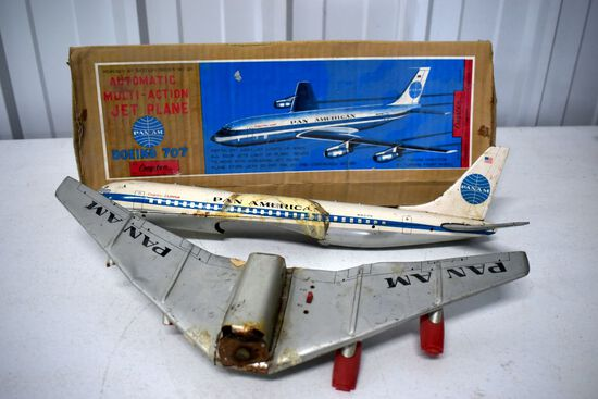 Cragstan Automatic Multi Action Jet Plane Pan Am Bowing 707 With Box