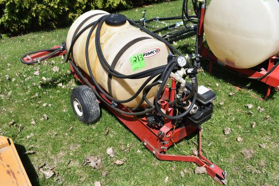Fimco Pull Type Lawn Sprayer, 7' Booms, 50 Gallon Tank, Briggs And Stratton 3.5Hp Gas Motor With Pum