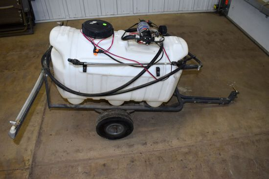 RUGID Yard Equipment Pull Type Sprayer, 1.8GPM 12Volt Pump, 30 Gallon Tank, Hand Wand, 42'' Boom