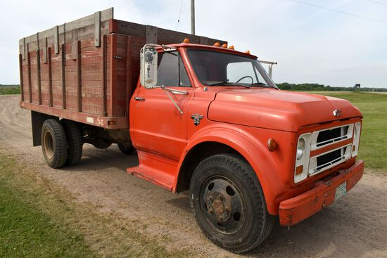 1969 Chevy C50 Single Axle Grain Truck, 4x2 Speed, V8 Gas, 68,504 Miles, 14' Wooden Box & Hoist