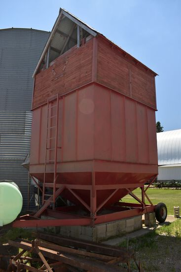 Portable Grain Holding Bin With Wheels & Brakes, Wooden Sides & Roof