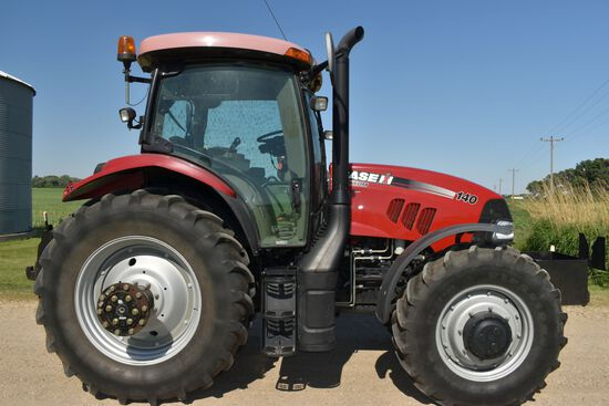 2012 Case IH 140 MAXXUM MFWD, 918 Hours, 380/85R38 85% With Axle Duals, 3pt Quick Hitch, 3 Hydraulic