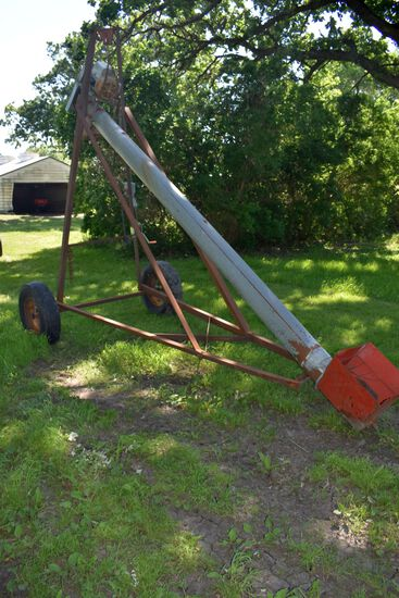 "8""x14'  Grain Auger On Transport, Electric Motor Drive With Motor"