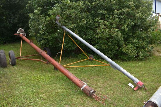 "Pair 4"" Augers On Transports With Motor & Cross Auger"