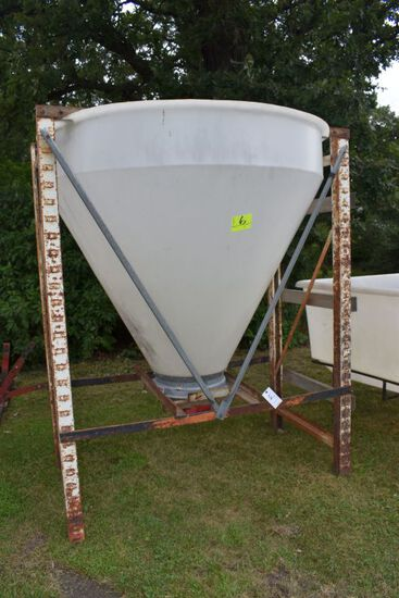 Poly Cone Bottom Hopper On Metal Stand