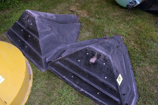 (2) Poly Auger Hoppers With Cracks & Repairs