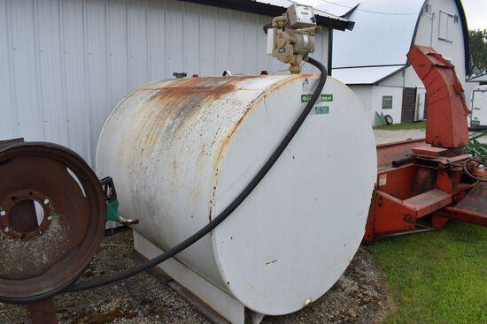 1000 Gallon Fuel Tank, Gas Boy Electric Pump, 20' Hose
