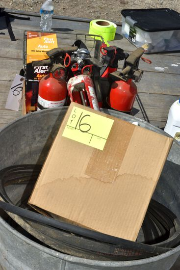 Fire Extinguisher, Rubber Boots, Gas Nozzles