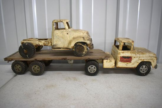 Tonka 60s Thunderbird Express Hauler With Trailer, 1950s Tonka Truck, Both Have Wear