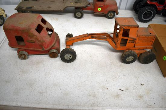 Tonka Diesel No.600 Road Grader Missing Parts, Tonka Crane Missing Many Parts