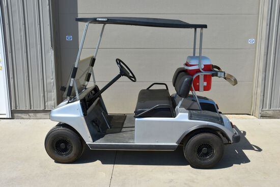 Club Car Electric Golf Cart, Runs And Drives, Roof, Flip Down Windshield, 2 Chargers, LED Lights, Ra
