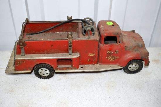 Tonka No.5 Firetruck, Has Wear, Missing Some Parts
