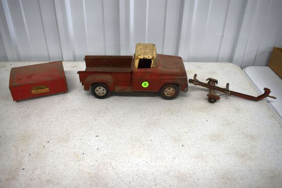 Tonka Pickup Truck, Boat Trailer, And Sportsman Truck Topper