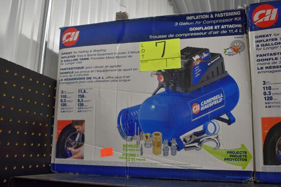 Campbell Hausfeld 3 Gallon Air Compressor 110PSI 120Volt, .51CFM @40PSI, Open Box Store Return