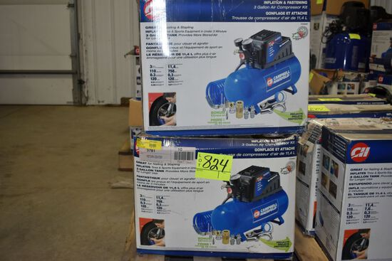 2 Campbell Hausfeld 3 Gallon, 110 PSI Air Compressor
