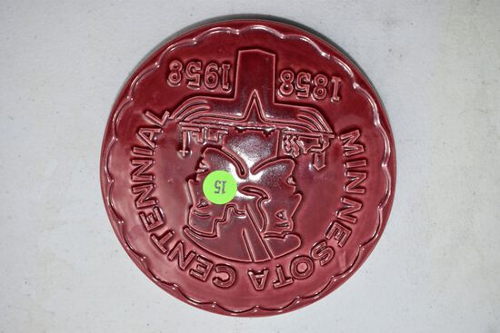 Red Wing Pottery Minnesota Centennial 1858-1958 Trivet, Red