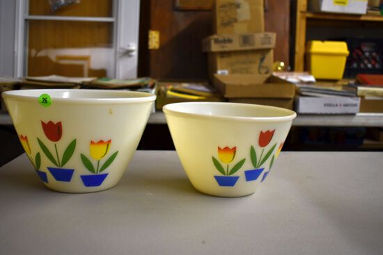 Two Fire King Bowls With Tulips