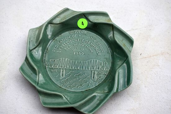 Souvenir Dedication of Hiawatha Bridge by President Eisenhower, Red Wing Pottery