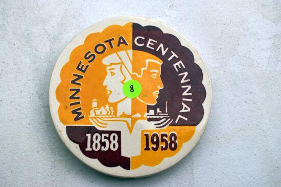Red Wing Pottery Minnesota Centennial 1858-1958 Trivet, Not Raised Lettering