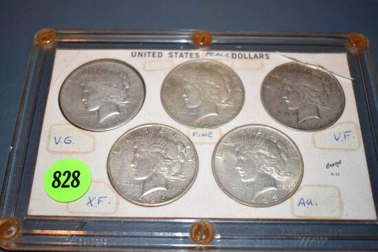 5 United States Peace Dollars 1921,1923,1926,1926,1934