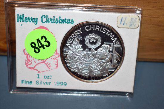 1987 Merry Christmas 1 Ounce Silver Coin