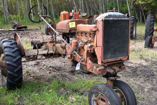 Farmall A wide front, rear weights, missing hood