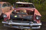 1954 Mercury 2 door, hardtop, no hood, bad top, 256 motor, red, no title