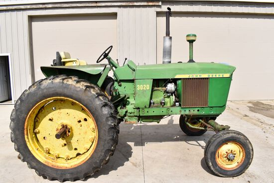John Deere 3020 2WD Gas Tractor, Open Station, Wide Front, 15.5x38 Tires, 3pt., 450/1000PTO,