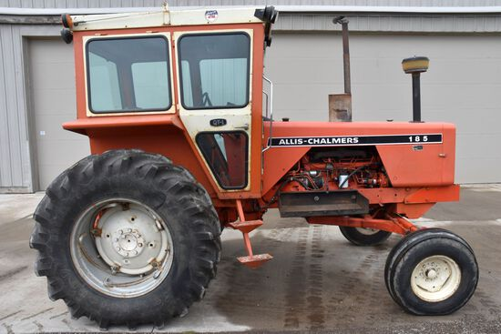 Allis Chalmers 185 Diesel Tractor, 2WD, 4153 Actual One Owner Hours, 18.4R30 Tires AT 90%, Hi/Lo 4 S