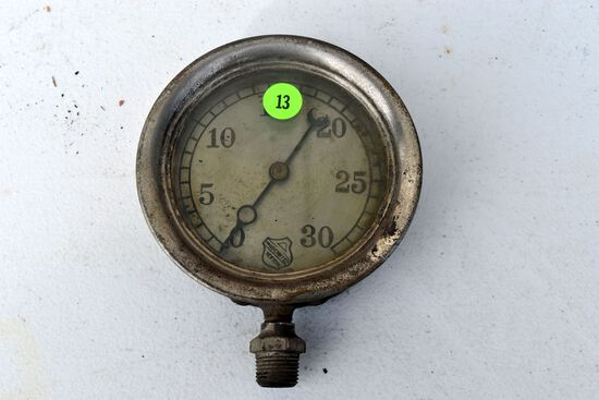"Antique vintage The Ashcroft MFG Co. pressure gauge 4.5"" diameter, glass appears good"