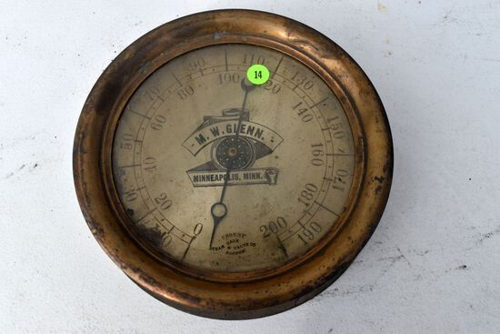 Antique vintage Crosby Steam Gage & Valve Co., Boston brass pressure gauge, M.W. Glenn, Minneapolis