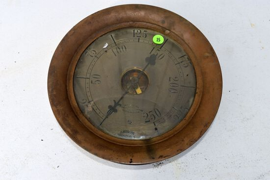 "Antique vintage American Bourdon Gauge, brass steam gauge, 8.5"" diameter, glass appears good"