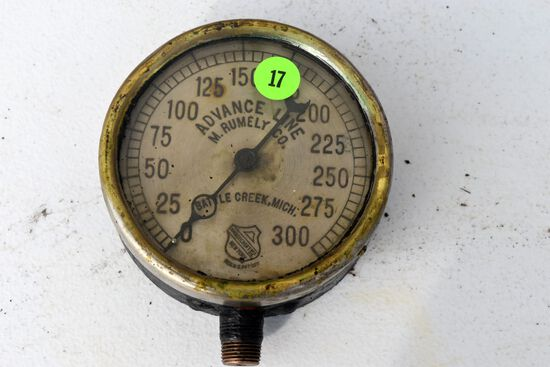 Antique vintage The Ashcroft MFG Co., Advance Line M. Rumley Co. Battle Creek Mich., pressure gauge