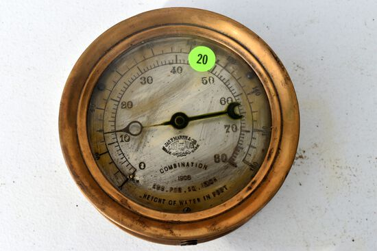 "Antique vintage Jas.P. Marsh Co., brass combination pressure & water gauge, dated 1906, 5.5"" diamete"