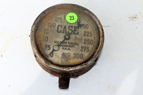 Antique vintage J.I. Case T.M. Co Auxiliary Spring Tractor Engine Gauge made by The Ashcroft MFG Co.