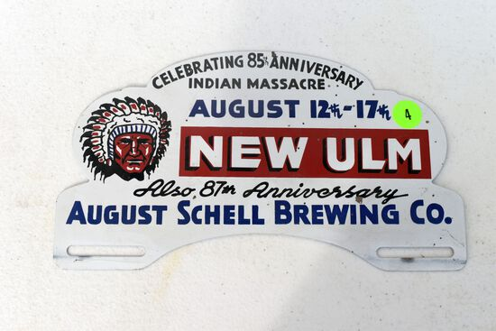 August Shells Brewing Co.New Ulm MN, Celebrating 85th Anniversary Of Indian Massacre,license plate t