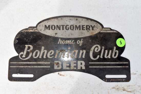 Montgomery MN home of Bohemian Club Beer license plate topper