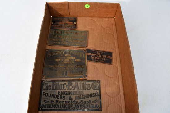 Brass and Cast plaques, Edw P. Allis Co, Rdigeway Dynamo, L.E. Pollard Co., Northwestern Electric &
