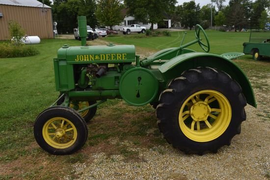 John Deere GP Tractor, Full Fenders, Restored, 12.4x24 New Rear Rubber, New Front Rubber, Flat Spoke
