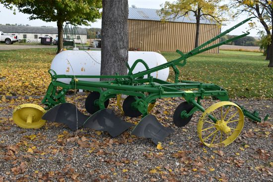 John Deere 3 x 14s Steel Wheel Plow, Mechanical Lift, Restored
