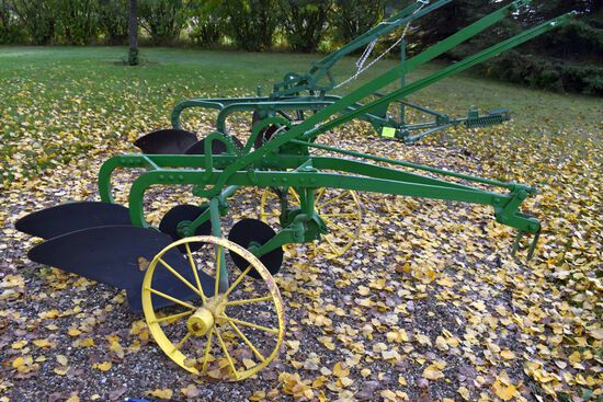 John Deere 2 x 14s Steel Wheel Plow, Mechanical Lift, Restored