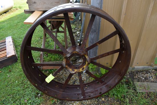 Set Of Front & Rear Steel Wheels For John Deere GP Tractor, Rear Flat Spoke, Front Round Spoke