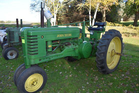 John Deere B Tractor, Elec Start, Older Restoration, N/F, Runs Good, 11.2x38 Tires, 540PTO, SN: B857