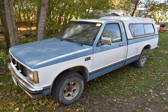 1987 Chevy S10 Pickup, 183,899 Mls, Regular Cab, Auto, Runs/Drives, 2 Wheel Drive, Battery Kill Swi